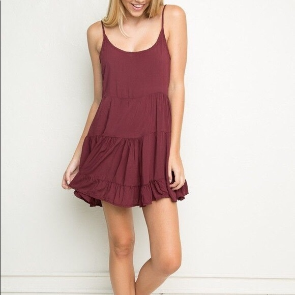 Brandy Melville Dresses & Skirts - Brandy Melville tiered dress maroon one size
